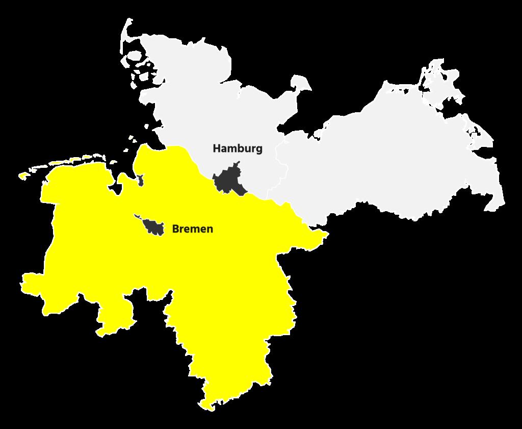 Wir sind aktiv in Bremen, Hamburg und im Raum Niedersachsen.